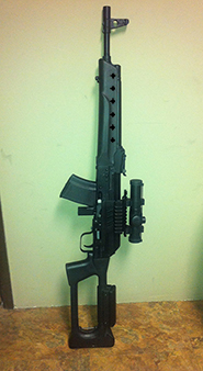 Saiga 7.62x39 with red dot and thunbhole stock